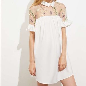 White Smock Mini Dress with Collar & Floral Mesh